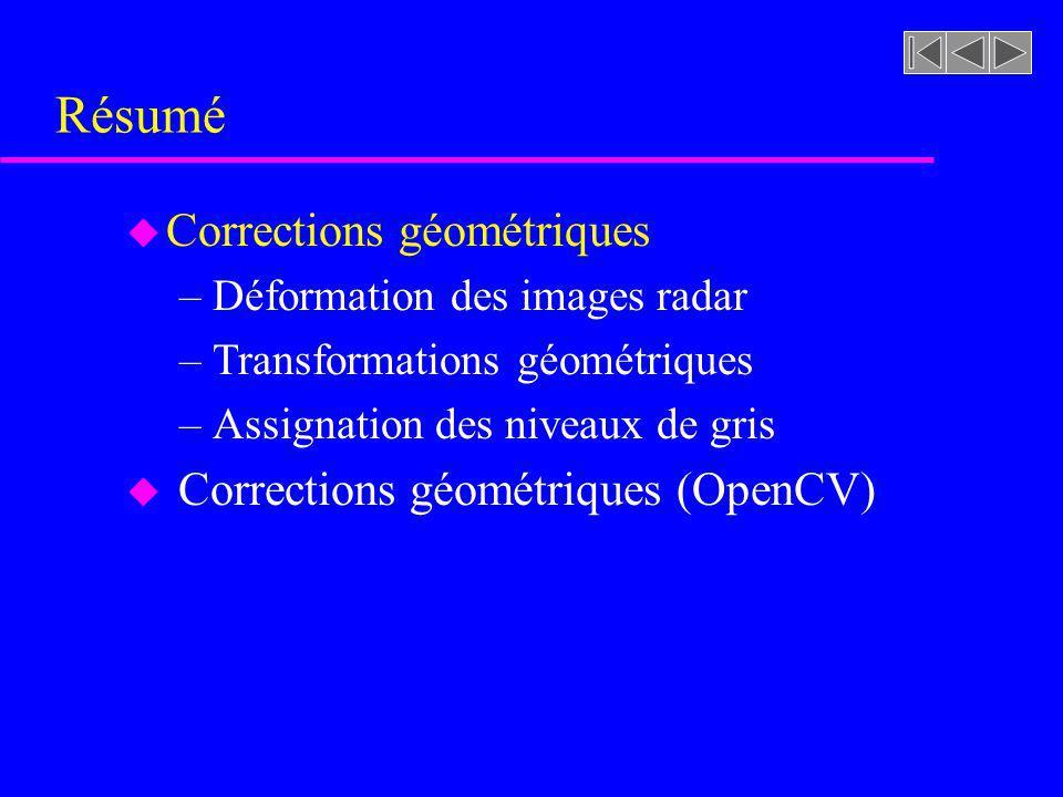 Résumé u Corrections géométriques –Déformation des images radar –Transformations géométriques –Assignation des niveaux de gris u Corrections géométriq