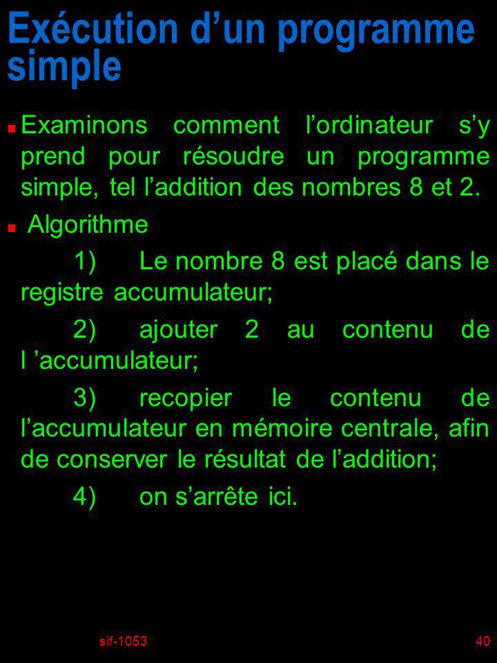 sif-105341 n Remarquer que lon a délibérément choisi de ne pas transmettre le résultat de laddition au monde extérieur (à un terminal par exemple), question davoir un programme simple.