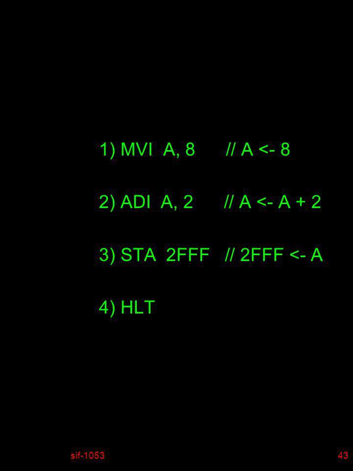sif-105344 1) MVI A correspond au code 3E 2) ADI A correspond au code C6 3) STA correspond au code C9 4) HLT correspond au code 76