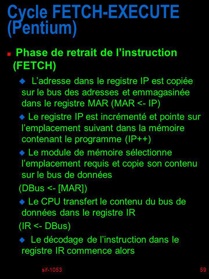 sif-105360 Cycle FETCH-EXECUTE (Pentium) n Phase de retrait de linstruction (FETCH) IP