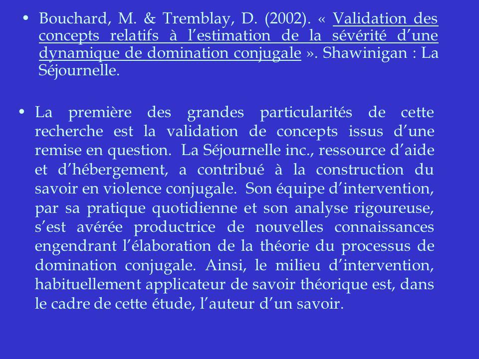Bouchard, M. & Tremblay, D. (2002).