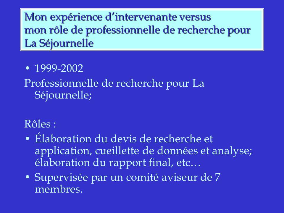 Mon expérience dintervenante versus mon rôle de professionnelle de recherche pour La Séjournelle 1999-2002 Professionnelle de recherche pour La Séjournelle; Rôles : Élaboration du devis de recherche et application, cueillette de données et analyse; élaboration du rapport final, etc… Supervisée par un comité aviseur de 7 membres.