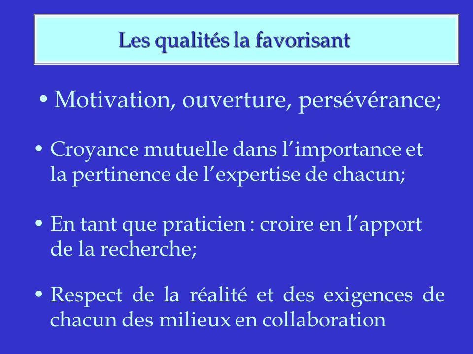 Les qualités la favorisant Les qualités la favorisant Motivation, ouverture, persévérance; Croyance mutuelle dans limportance et la pertinence de lexpertise de chacun; En tant que praticien : croire en lapport de la recherche; Respect de la réalité et des exigences de chacun des milieux en collaboration