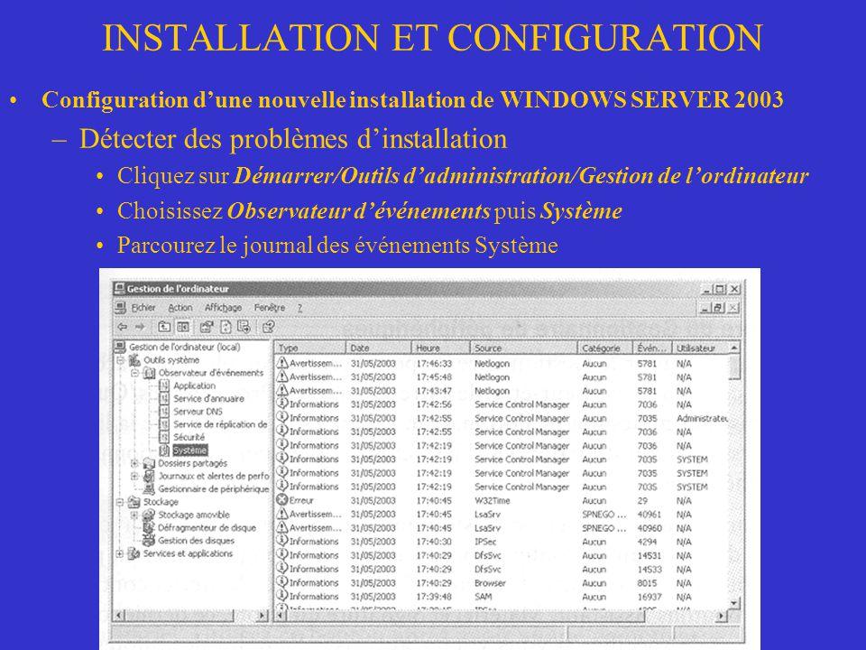 INSTALLATION ET CONFIGURATION Configuration dune nouvelle installation de WINDOWS SERVER 2003 –Détecter des problèmes dinstallation Cliquez sur Démarr