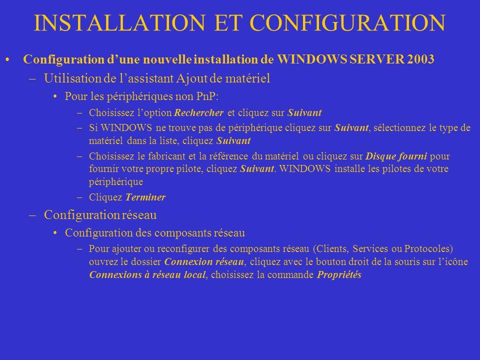 INSTALLATION ET CONFIGURATION Configuration dune nouvelle installation de WINDOWS SERVER 2003 –Utilisation de lassistant Ajout de matériel Pour les pé