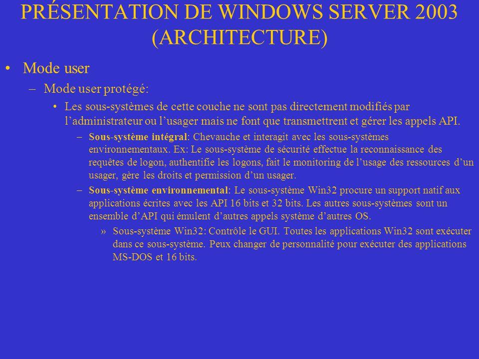 PRÉSENTATION DE WINDOWS SERVER 2003 (ARCHITECTURE) Mode user –Mode user protégé: Les sous-systèmes de cette couche ne sont pas directement modifiés pa