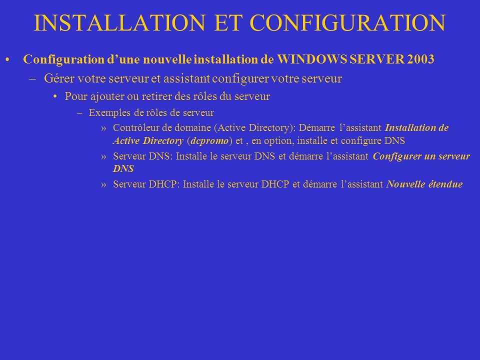 INSTALLATION ET CONFIGURATION Configuration dune nouvelle installation de WINDOWS SERVER 2003 –Gérer votre serveur et assistant configurer votre serve