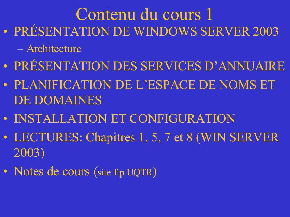 PRÉSENTATION DE WINDOWS SERVER 2003 Interopérabilité –Des machines WIN SERVER 2003 peuvent communiquer avec dautres machines de différents types de systèmes dexploitation (LINUX, MAC etc.) par lintermédiaire dun réseau et du protocole TCP/IP –Permet doffrir un service de partage de fichiers et dimprimantes –WIN SERVER 2003 reconnaît la norme ODBC, les files de messages, protocoles standards de communication FTP, NNTP, HTTP, SMTP, LDAP, IPSEC Sécurité système et réseau –Protocole de sécurité supporté: KERBEROS –Supporte SSL/TLS pour les sessions WEB protégées –Serveur de certificats à clé publique intégrée de Active Directory –Possibilités dutiliser des cartes à puces infalsifiables (mot de passe, clés privées, numéro de compte) pour par exemple valider louverture de session TS –IPSEC permet de protéger les communications sur toute la connexion