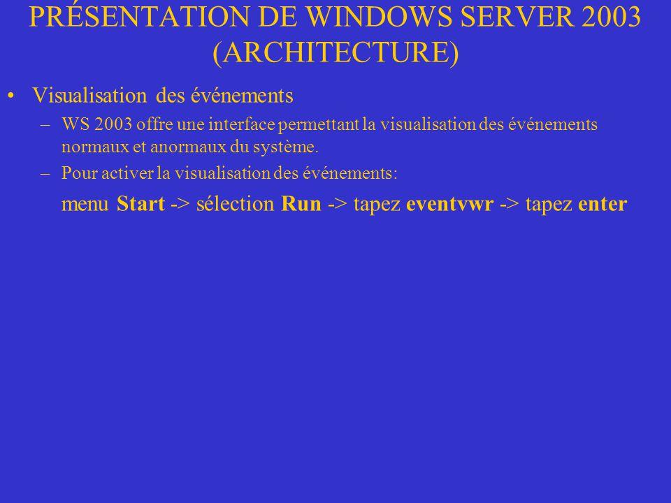 PRÉSENTATION DE WINDOWS SERVER 2003 (ARCHITECTURE) Visualisation des événements –WS 2003 offre une interface permettant la visualisation des événement