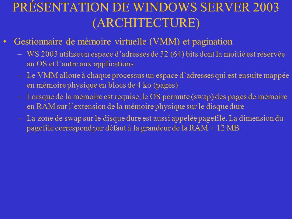 PRÉSENTATION DE WINDOWS SERVER 2003 (ARCHITECTURE) Gestionnaire de mémoire virtuelle (VMM) et pagination –WS 2003 utilise un espace dadresses de 32 (6
