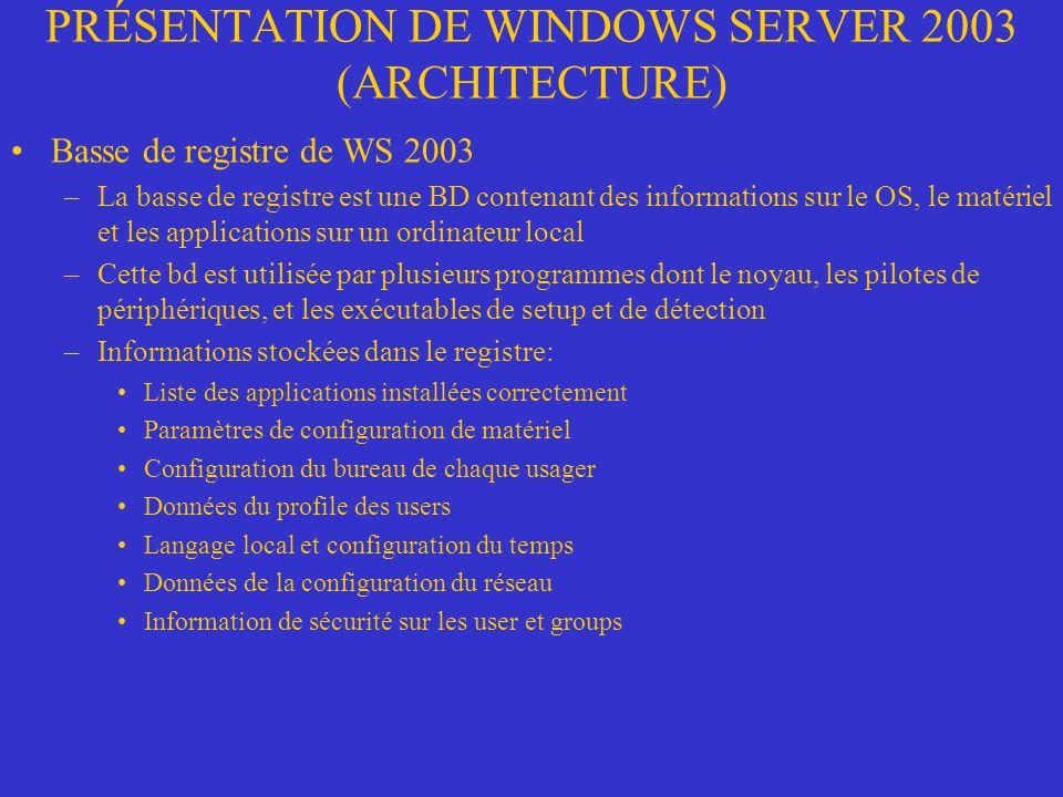 PRÉSENTATION DE WINDOWS SERVER 2003 (ARCHITECTURE) Basse de registre de WS 2003 –La basse de registre est une BD contenant des informations sur le OS,