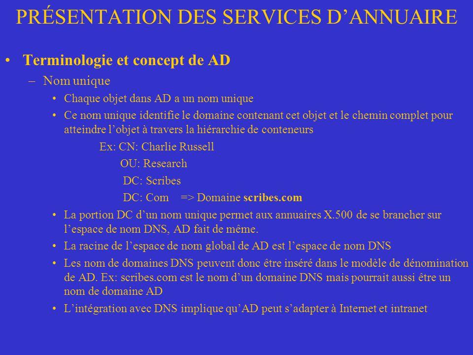 PRÉSENTATION DES SERVICES DANNUAIRE Terminologie et concept de AD –Nom unique Chaque objet dans AD a un nom unique Ce nom unique identifie le domaine