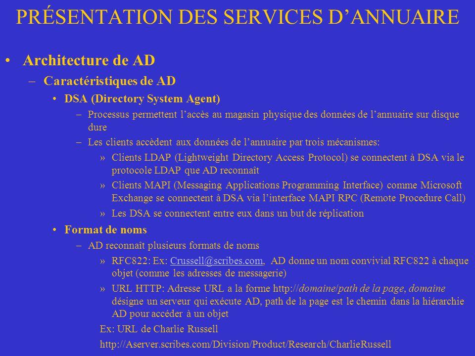 PRÉSENTATION DES SERVICES DANNUAIRE Architecture de AD –Caractéristiques de AD DSA (Directory System Agent) –Processus permettent laccès au magasin ph