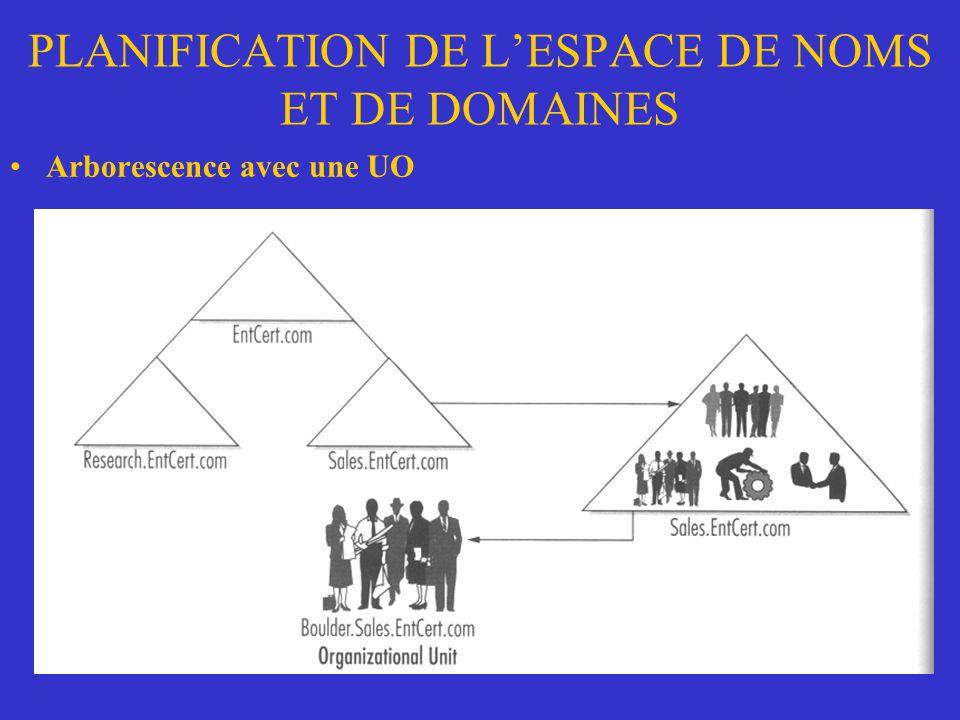 PLANIFICATION DE LESPACE DE NOMS ET DE DOMAINES Arborescence avec une UO