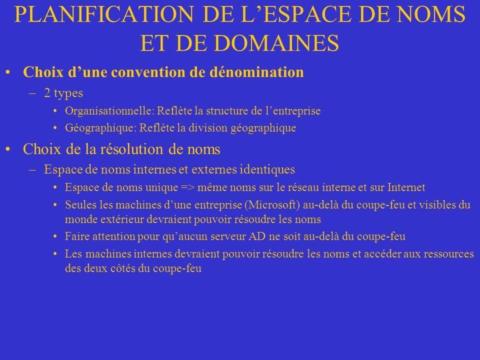 PLANIFICATION DE LESPACE DE NOMS ET DE DOMAINES Choix dune convention de dénomination –2 types Organisationnelle: Reflète la structure de lentreprise