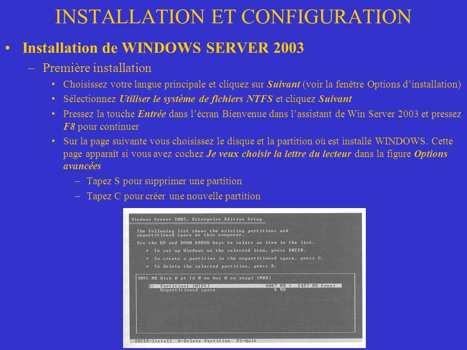 INSTALLATION ET CONFIGURATION Installation de WINDOWS SERVER 2003 –Première installation Choisissez votre langue principale et cliquez sur Suivant (vo