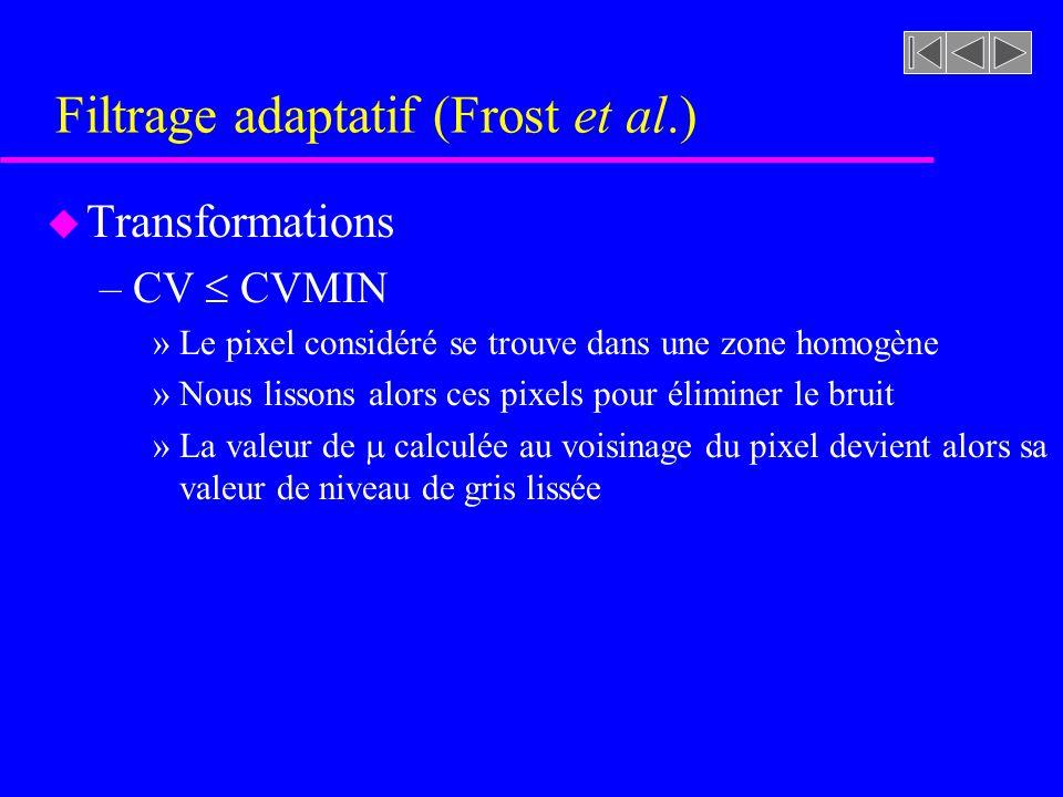 Filtrage adaptatif (Frost et al.) u Transformations –CV CVMAX (parallèle avec le filtrage spatial)