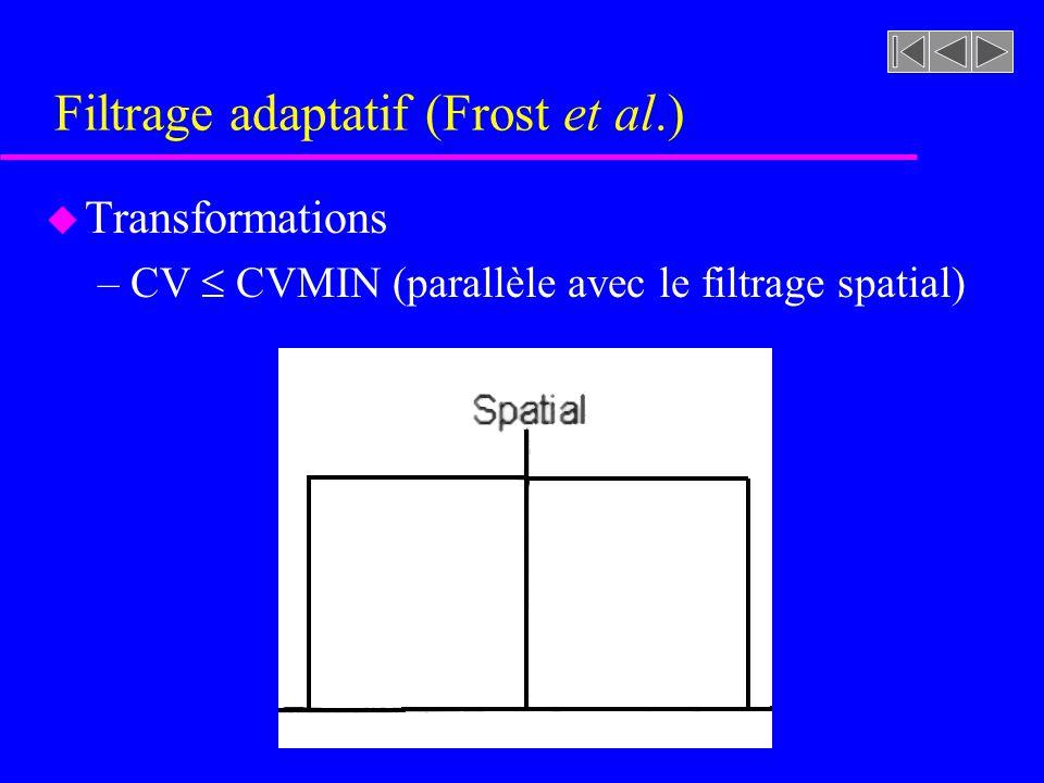 Filtrage adaptatif (Frost et al.) u Transformations –CV CVMIN »Le pixel considéré se trouve dans une zone homogène »Nous lissons alors ces pixels pour éliminer le bruit »La valeur de calculée au voisinage du pixel devient alors sa valeur de niveau de gris lissée