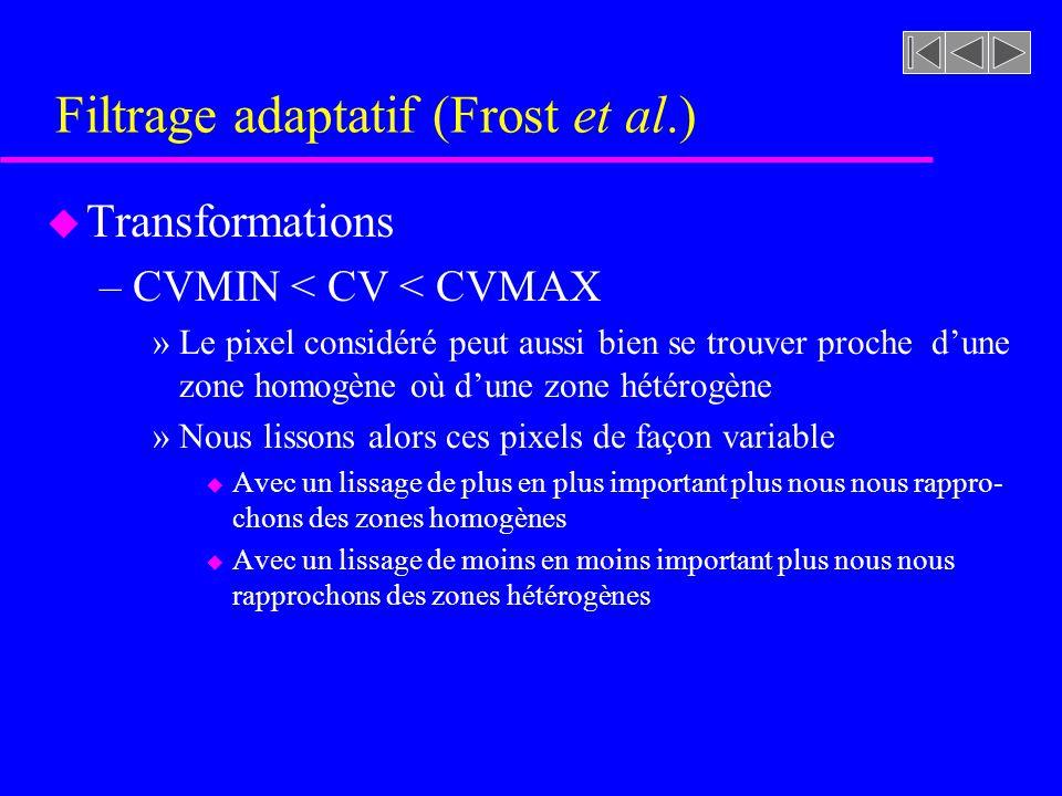 Filtrage adaptatif (Frost et al.) u Transformations –CV CVMIN (parallèle avec le filtrage spatial)