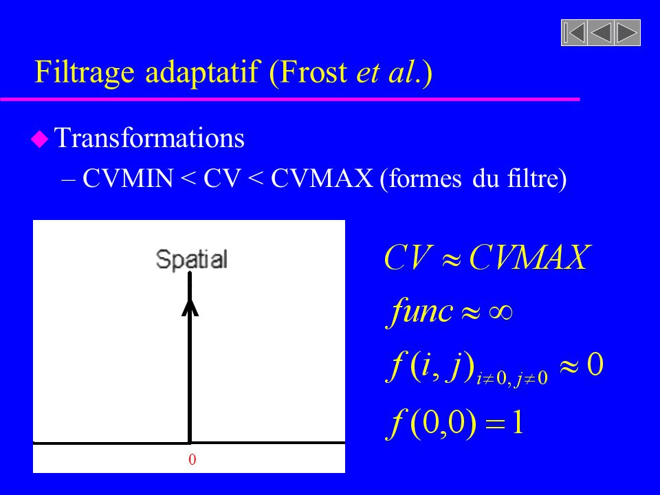 Filtrage adaptatif (Frost et al.) u Transformations –CVMIN < CV < CVMAX (forme du filtre) DIM/20-DIM/2