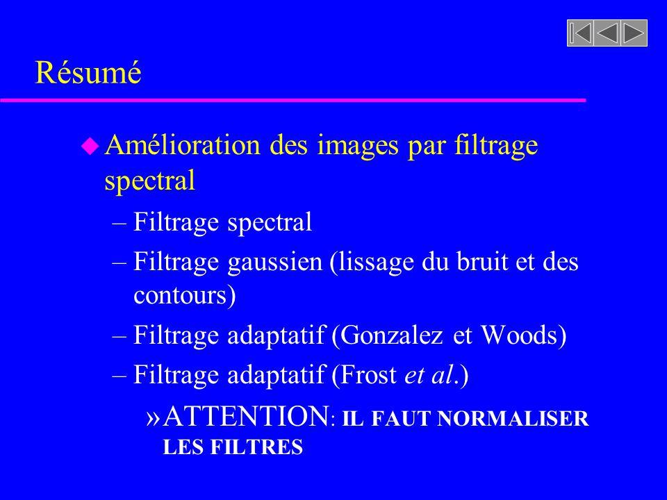 image traitée par filtre spatial gaussien ( ) image traitée par filtre spatial adaptatif (13 x 13) gaussien Résultat de lapplication du filtre de Frost riviere.rast filtrage _ Frost