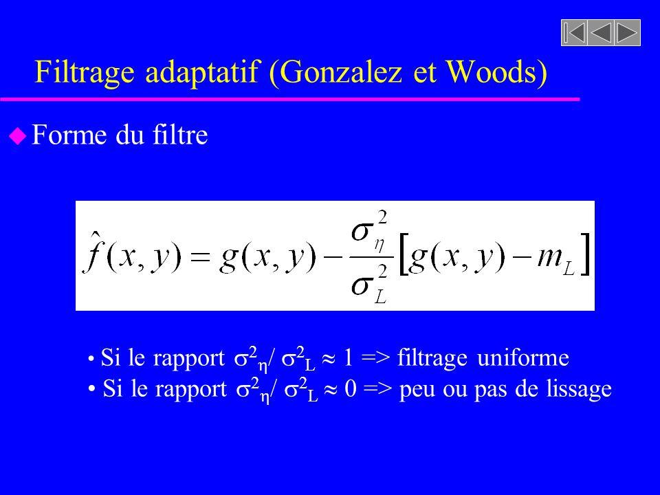 Filtrage adaptatif (Gonzalez et Woods) u Comportement du filtre –Si la variance locale 2 L au voisinage dun pixel x,y est plus grande comparativement à la variance du bruit dans limage 2, la filtre devrait retourner la valeur de limage originale (sans lissage) g(x,y).
