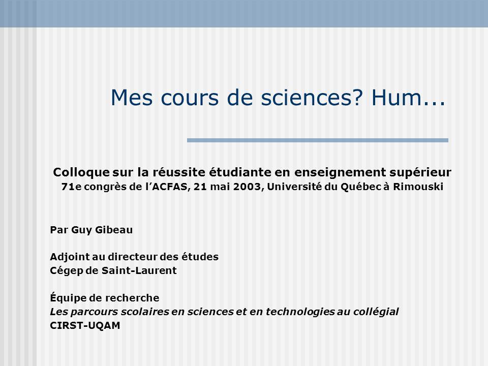 Mes cours de sciences? Hum... Colloque sur la réussite étudiante en enseignement supérieur 71e congrès de lACFAS, 21 mai 2003, Université du Québec à