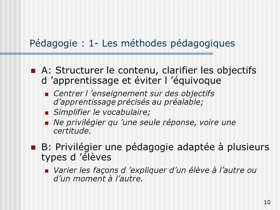 10 Pédagogie : 1- Les méthodes pédagogiques A: Structurer le contenu, clarifier les objectifs d apprentissage et éviter l équivoque Centrer l enseigne