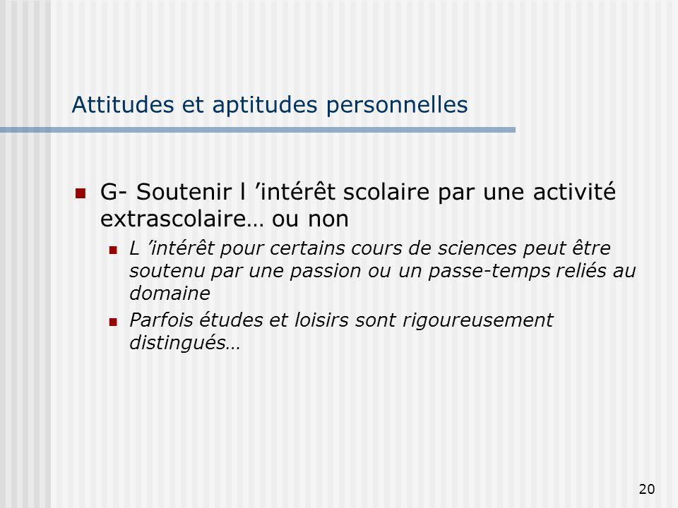 20 Attitudes et aptitudes personnelles G- Soutenir l intérêt scolaire par une activité extrascolaire… ou non L intérêt pour certains cours de sciences