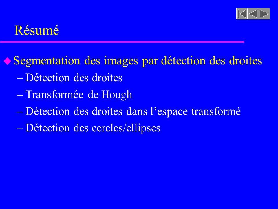Détection des ellipses (Exemple) Extraction des contours et ellipses à partir de limage seuillée