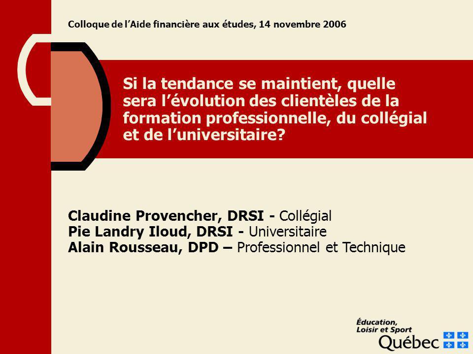 Si la tendance se maintient, quelle sera lévolution des clientèles de la formation professionnelle, du collégial et de luniversitaire? Claudine Proven