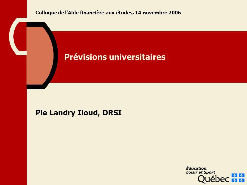 Prévisions universitaires Pie Landry Iloud, DRSI Colloque de lAide financière aux études, 14 novembre 2006