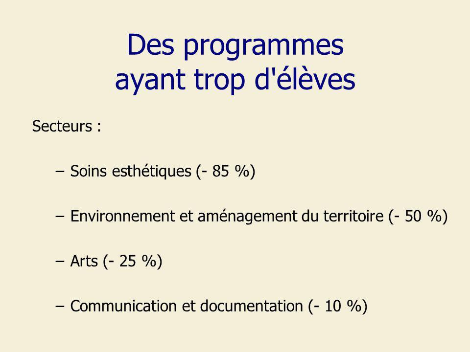 Des programmes ayant trop d élèves Secteurs : –Soins esthétiques (- 85 %) –Environnement et aménagement du territoire (- 50 %) –Arts (- 25 %) –Communication et documentation (- 10 %)