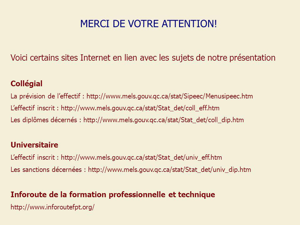 MERCI DE VOTRE ATTENTION! Voici certains sites Internet en lien avec les sujets de notre présentation Collégial La prévision de leffectif : http://www