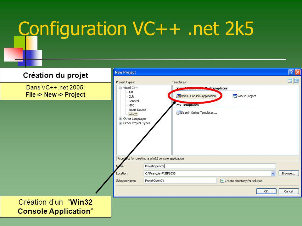 Configuration VC++.net 2k5 Sous Application Settings: Sélectionner Empty project