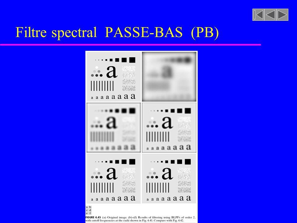 Figure 4.34 [rf. GONZALEZ, p. 208] Filtre spectral PASSE-BAS (PB)