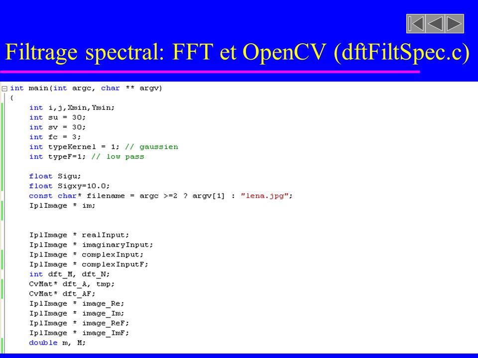 Filtrage spectral: FFT et OpenCV (procFourier.c)