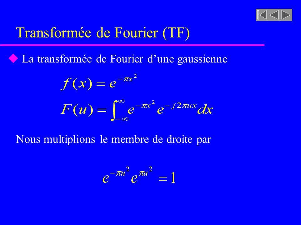 Transformée de Fourier (TF) où x, y : coordonnées spatiales u, : coordonnées spectrales