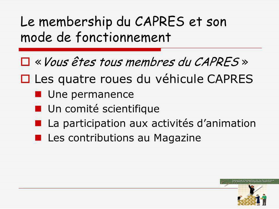 Le membership du CAPRES et son mode de fonctionnement « Vous êtes tous membres du CAPRES » Les quatre roues du véhicule CAPRES Une permanence Un comité scientifique La participation aux activités danimation Les contributions au Magazine