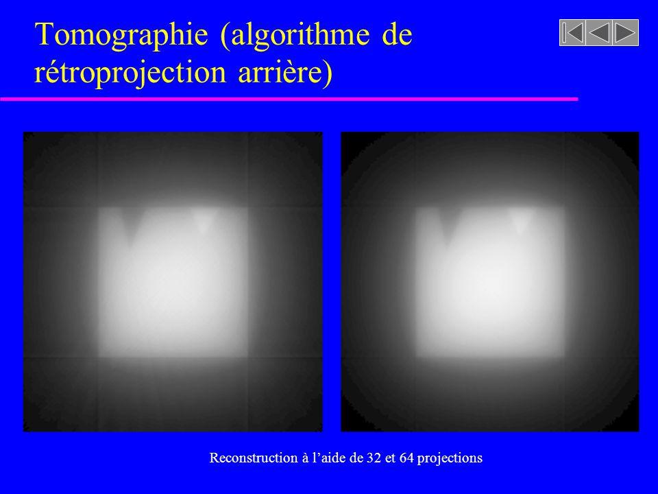 Tomographie (algorithme de rétroprojection arrière) Reconstruction à laide de 8 et 16 projections
