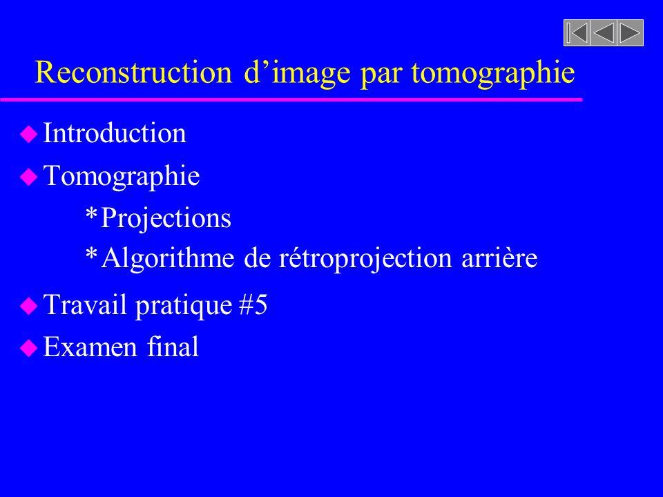 Reconstruction dimage par tomographie u Introduction u Tomographie *Projections *Algorithme de rétroprojection arrière u Travail pratique #5 u Examen final