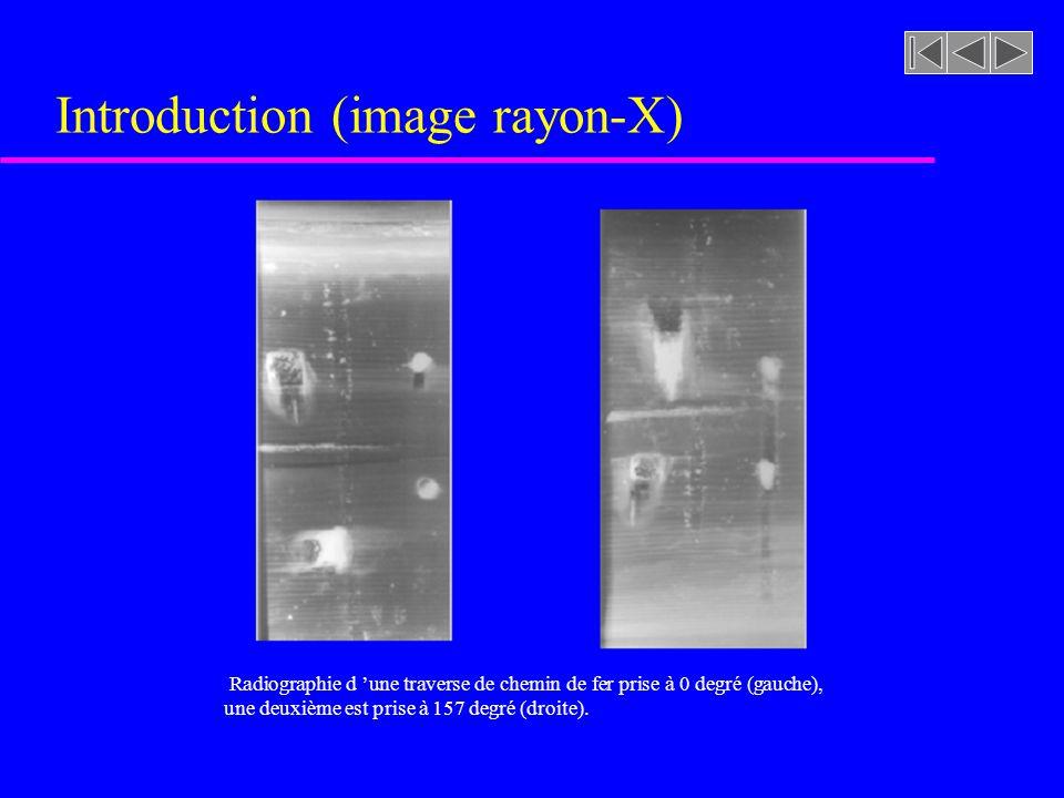 Introduction (image rayon-X) Radiographie d une traverse de chemin de fer prise à 0 degré (gauche), une deuxième est prise à 157 degré (droite).