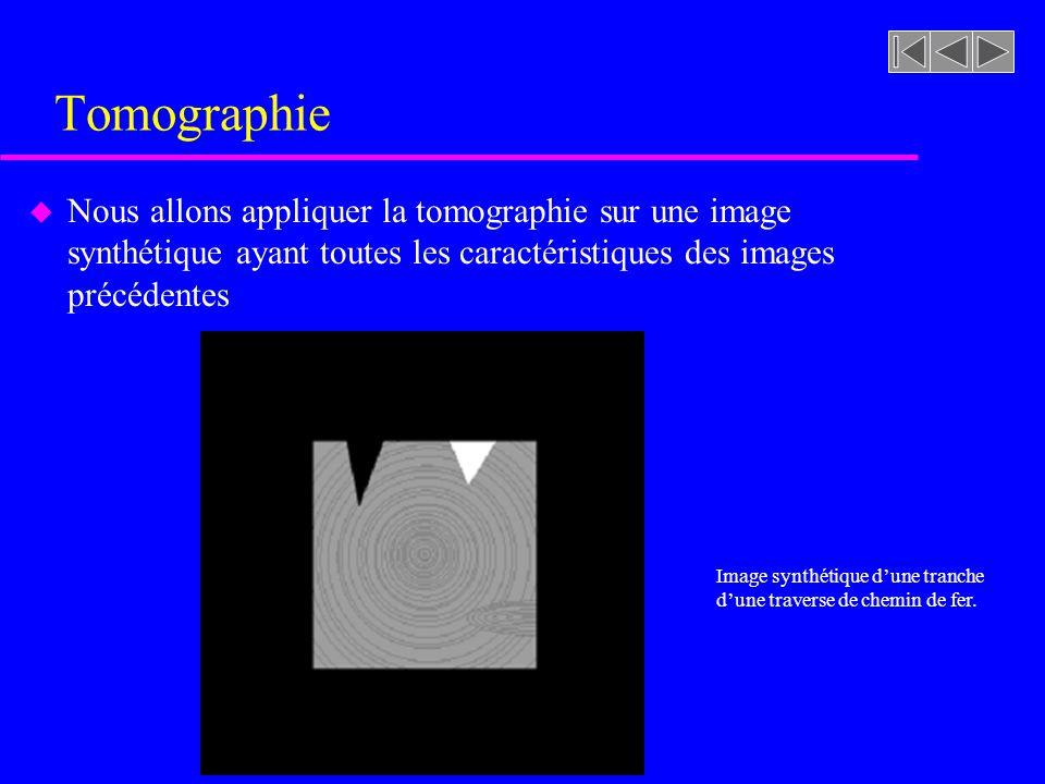 Tomographie u Nous allons appliquer la tomographie sur une image synthétique ayant toutes les caractéristiques des images précédentes Image synthétique dune tranche dune traverse de chemin de fer.