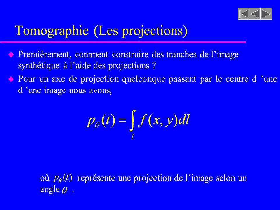 Tomographie (Les projections) u Premièrement, comment construire des tranches de limage synthétique à laide des projections .