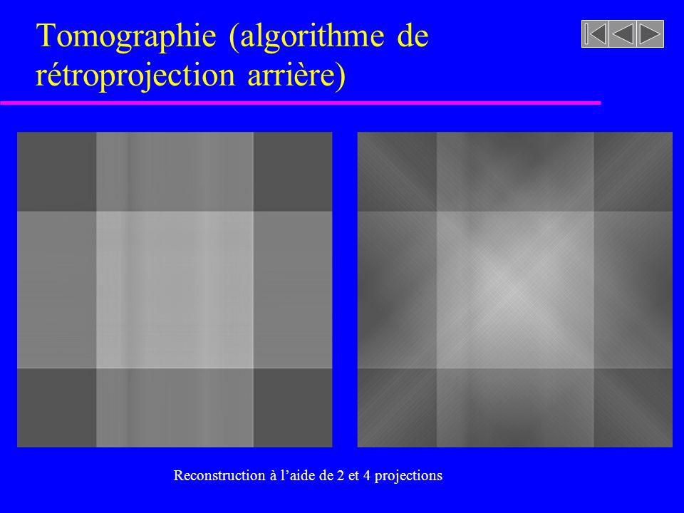 Tomographie (algorithme de rétroprojection arrière) Reconstruction à laide de 2 et 4 projections