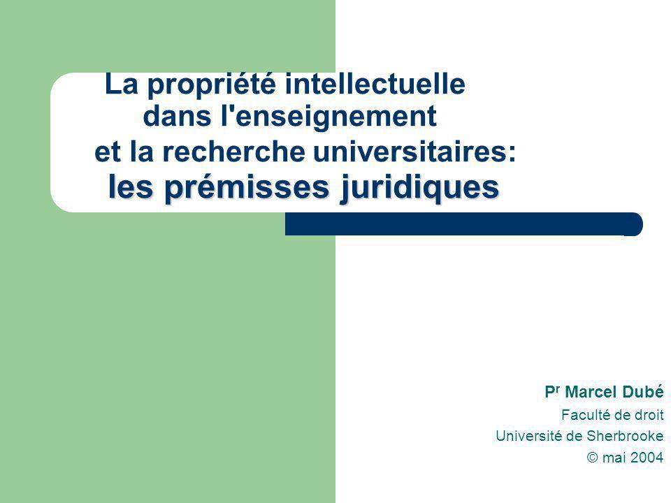 La propriété intellectuelle dans l'enseignement et la recherche universitaires: l es prémisses j jj juridiques P r Marcel Dubé Faculté de droit Univer