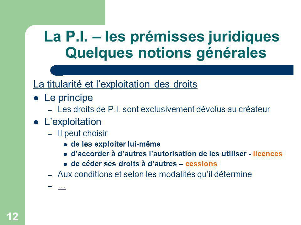 12 La P.I. – les prémisses juridiques Quelques notions générales La titularité et lexploitation des droits Le principe – Les droits de P.I. sont exclu