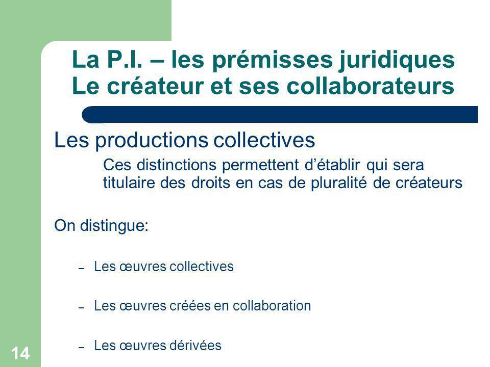 14 La P.I. – les prémisses juridiques Le créateur et ses collaborateurs Les productions collectives Ces distinctions permettent détablir qui sera titu