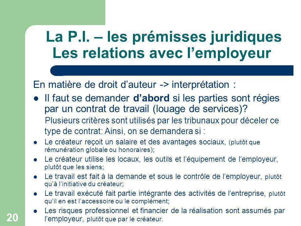 20 La P.I. – les prémisses juridiques Les relations avec lemployeur En matière de droit dauteur -> interprétation : Il faut se demander dabord si les