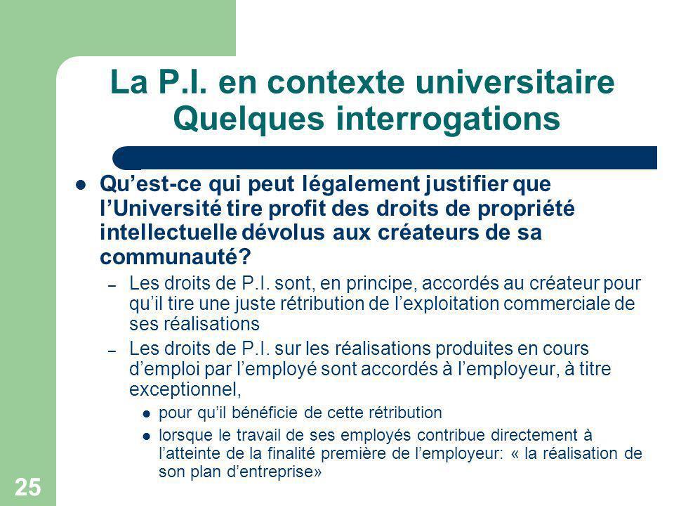 25 La P.I. en contexte universitaire Quelques interrogations Quest-ce qui peut légalement justifier que lUniversité tire profit des droits de propriét